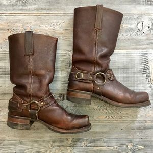 Frye brown leather harness boots